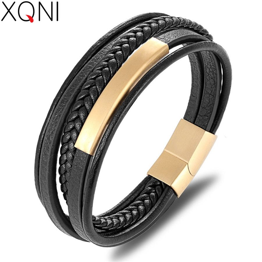 XQNI Wholesale Price Classic Genuine Leather Bracelet For Men Hand Charm Jewelry Multilayer Magnet Handmade Gift For Cool Boys