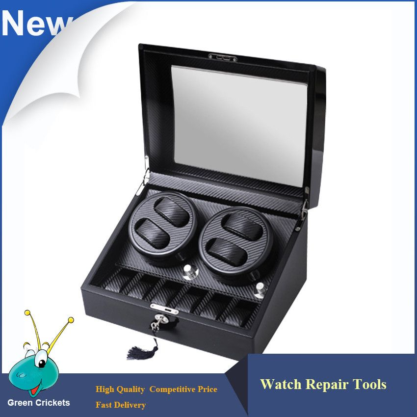 4+6 Series High Grossy Black Carbon fiber Leather Inside Watch Winder Box,5 Modes Watch Winding Automatic Watch Winder