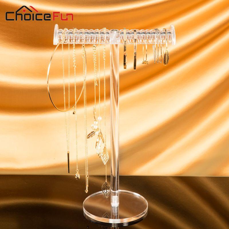 CHOICEFUN suspendus t-bar clair grand acrylique bijoux affichage organisateur en plastique table bijoux porte-collier pour Bracelet
