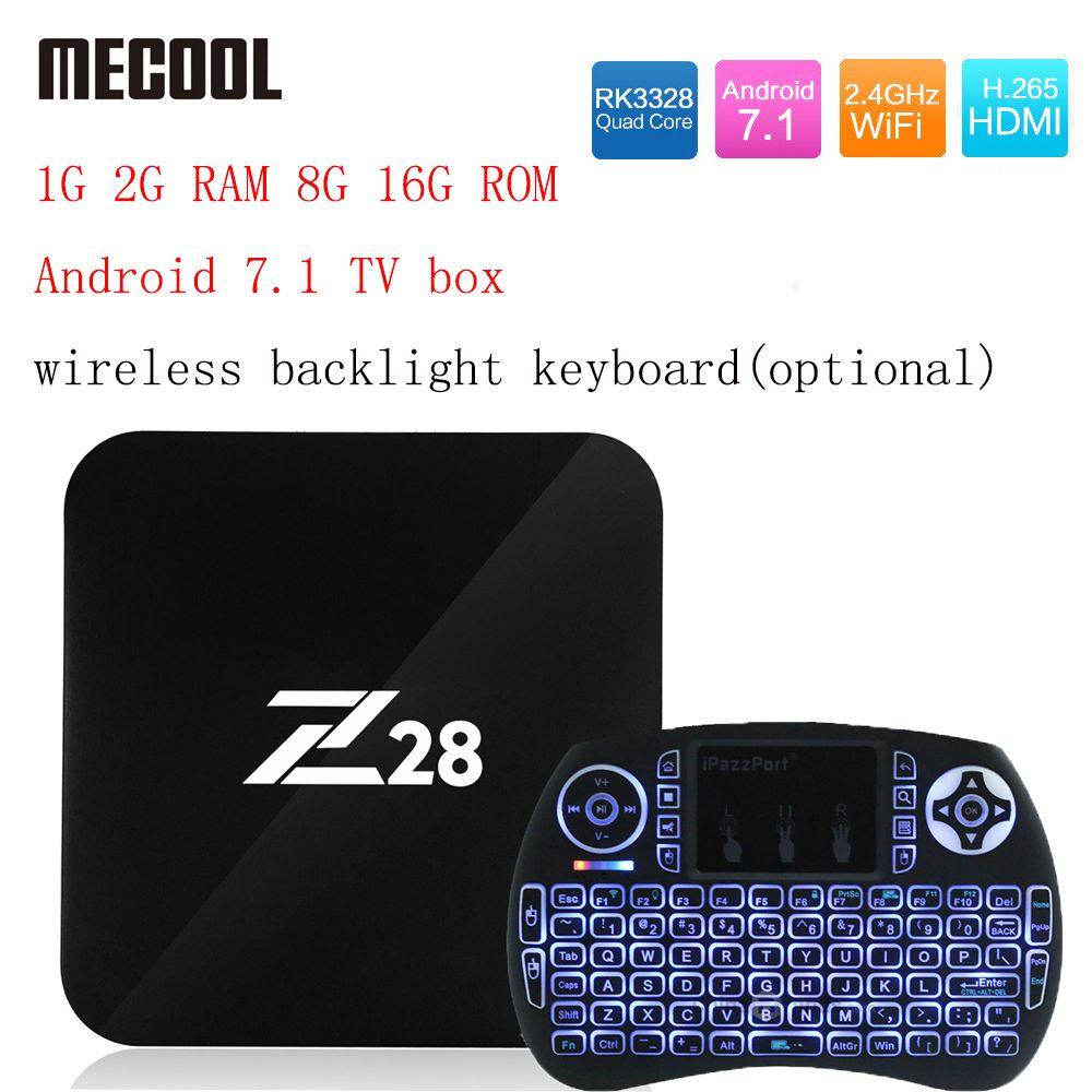 Z28 Android 7.1 TV box 1G 2G RAM 8G 16G ROM RK3328 Quad core 2.4GHz WiFi H.265 HDMI Smart Set Top Box Media Player PK X96 A95X