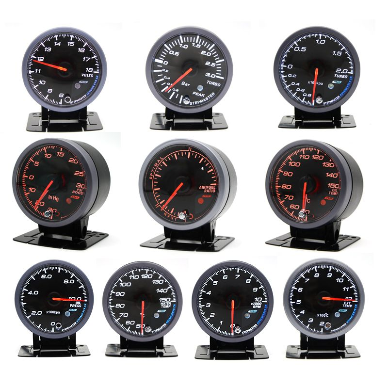 60MM Black Face Boost turbo/Water/Oil temp/Oil press/Voltmeter/Air fuel Ratio/ Exhaust gas temp/tachometer gauge Dual Led Color