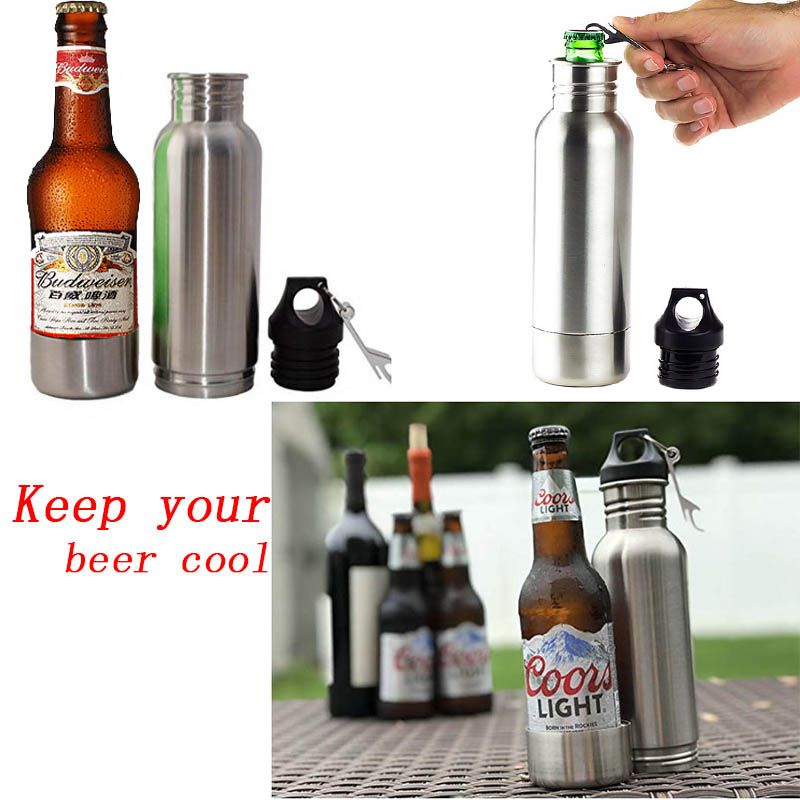 Stainless Steel 12oz Beer Bottles Cold Insulated Neoprene Beer Travel Bottle Thermo Gifts Thermo Cold Beer For Dropshipping