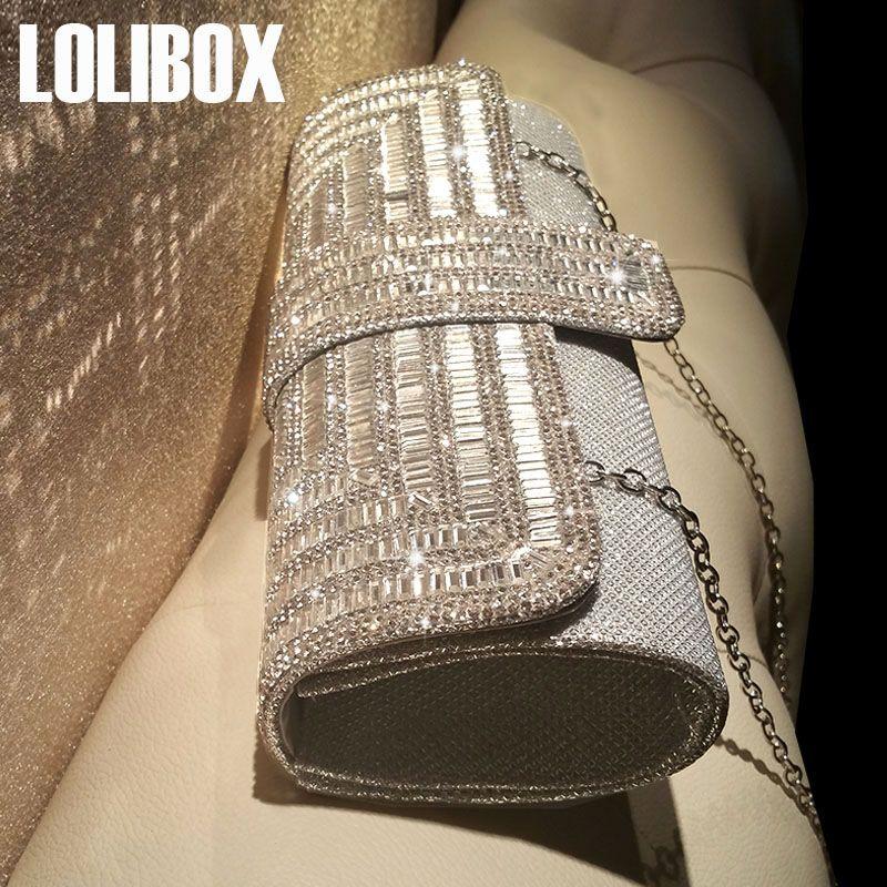 LOLIBOX Frauen Kupplung Abendtaschen strass Sparkly Damen Geldbörse Crystals Langkettige Brauthandtasche Tasche