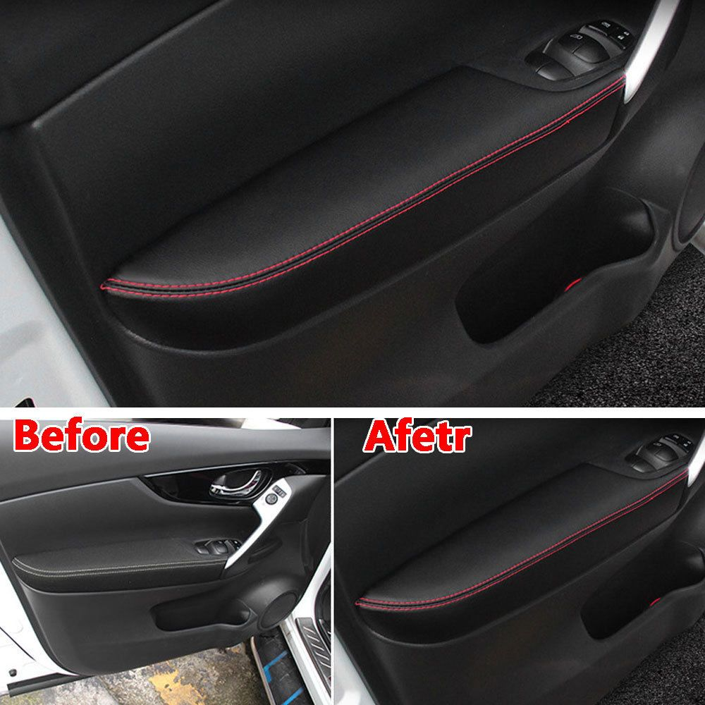 For Nissan Qashqai 2016 2017 Interior PU Door Armrest Surface Cover Trim Panel Guards Car Styling Accessories Protect Car Covers