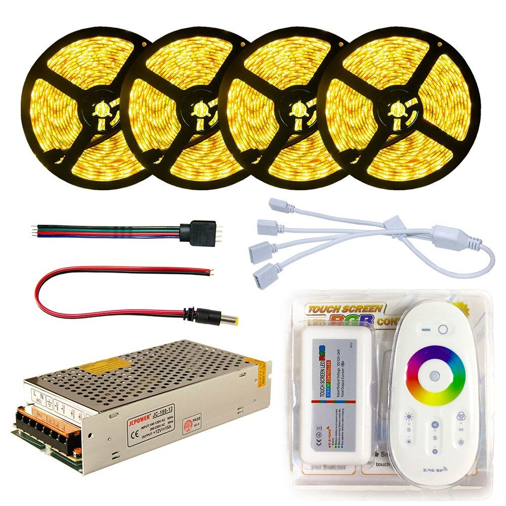 LED Strip set DC12V SMD 5050 RGB RGBW Diode Waterproof Led Tape + Remote Controller + Power supply Flexible Light Ribbon 20M 5M