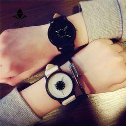 Hot Fashion Kreatif Jam Tangan Wanita Pria QUARTZ-Watch Bgg Merek Yang Unik Desain Dial Minimalis Pecinta Watch Leather Jam Tangan