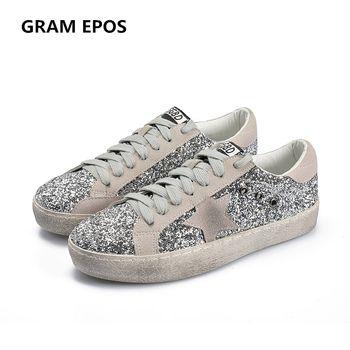 GRAM EPOS 2018 Femmes Casual Chaussures Glitter En Cuir Faire Vieux Sale Chaussures Couleur Mélangée Femmes Paillettes Étoiles Toisons D'or formateurs