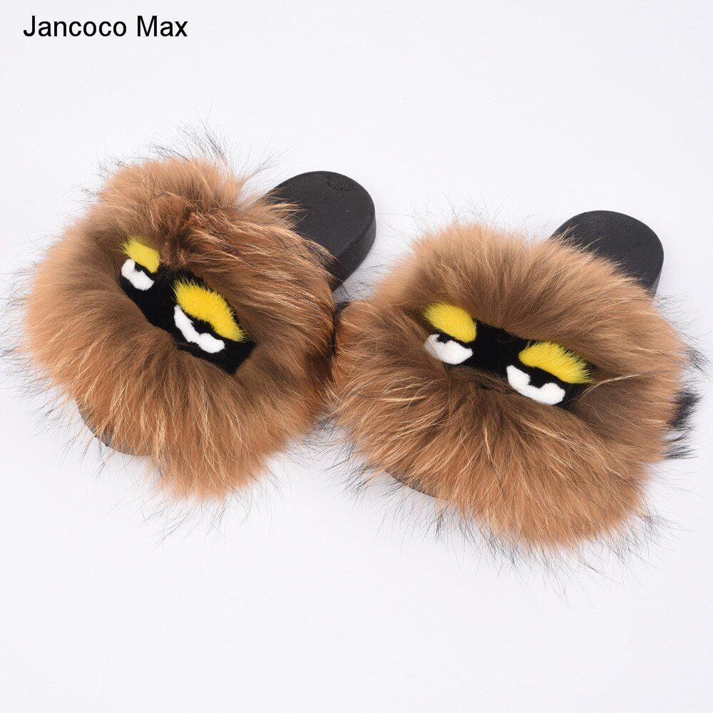 Jancoco Max 2018 New Women Real Fox Fur Monster Slipper Lovely Raccoon Fur Sliders Soft Warm Fluffy Slide S60GLOves26