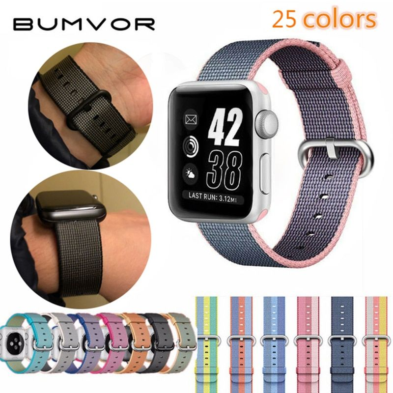 BUMVOR fashion Woven Nylon Watchband straps for iWatch1/2/3 Apple Watch 38mm 42mm Fabric Strap Band with Link Connector Adapter