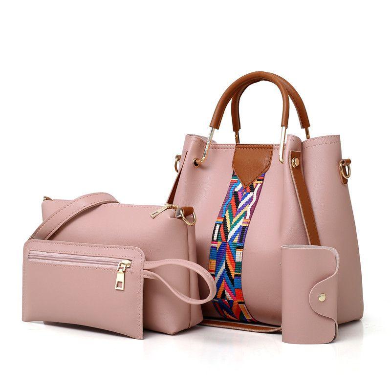 4PCS Set Purses and Handbags PU Leather Striped Shoulder Bags for Women 2018 Fashion Top-Handle Bags Female Shoulder Bag