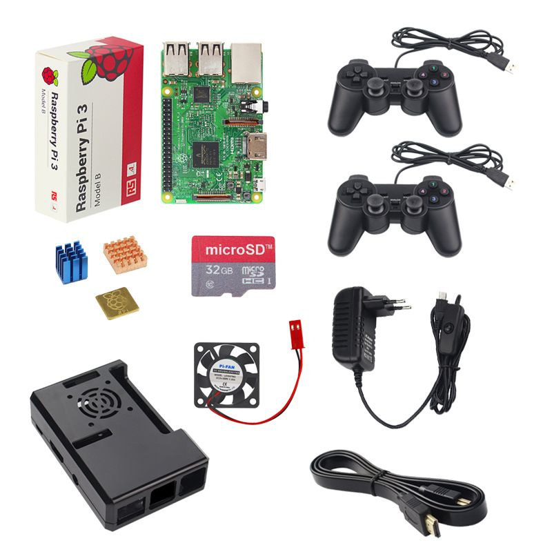 UK Raspberry Pi 3 Model B Game Kit + 2 Game Controller +32G 16G SD Card + Case + 3A Switch Power Supply +Heat Sink + HDMI Cable