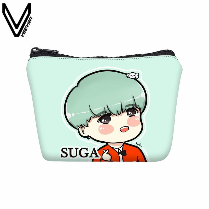 VEEVANV 2017 Women Wallets BTS Cartoon Printing Canvas Case Girls Cute Coin Purses Case School Children Pencil Purse BTS