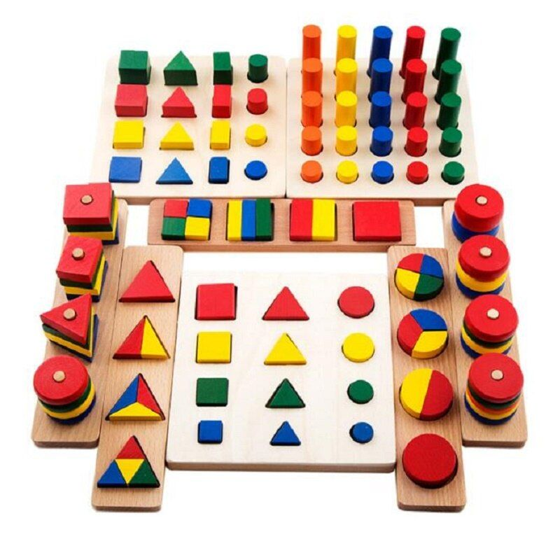 Montessori Wooden Oyuncak Shape Matching 8 In 1 Set Cylinder Educational Blocks Toys For Children Brinquedos Juguetes Brinqued59