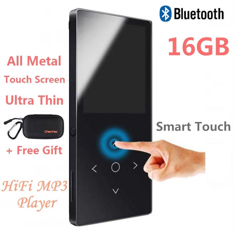 2018 Touch Key Bluetooth HIFI MP4 Player 16GB Multi-language Shatterproof Scratch Resistant FM Radio, E-Book Metal Music Player