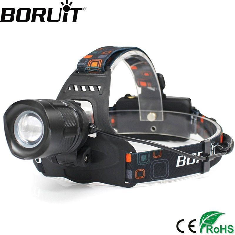 BORUiT 2000LM XML-L2 LED Headlamp 5-Mode Zoom Headlight POWER BANK Head Torch Camping Hunting Frontal Lantern 18650 Battery