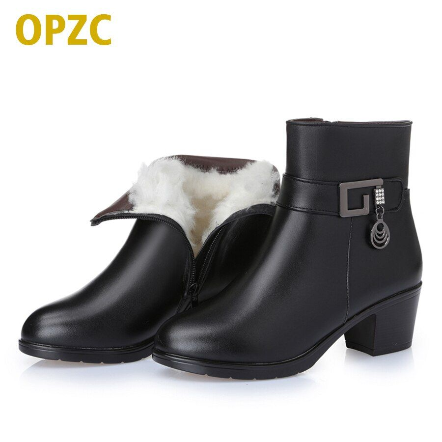 2017 new winter thick wool lined genuine Leather women snow boots, large size 35-43 # mother warm boots, free shipping