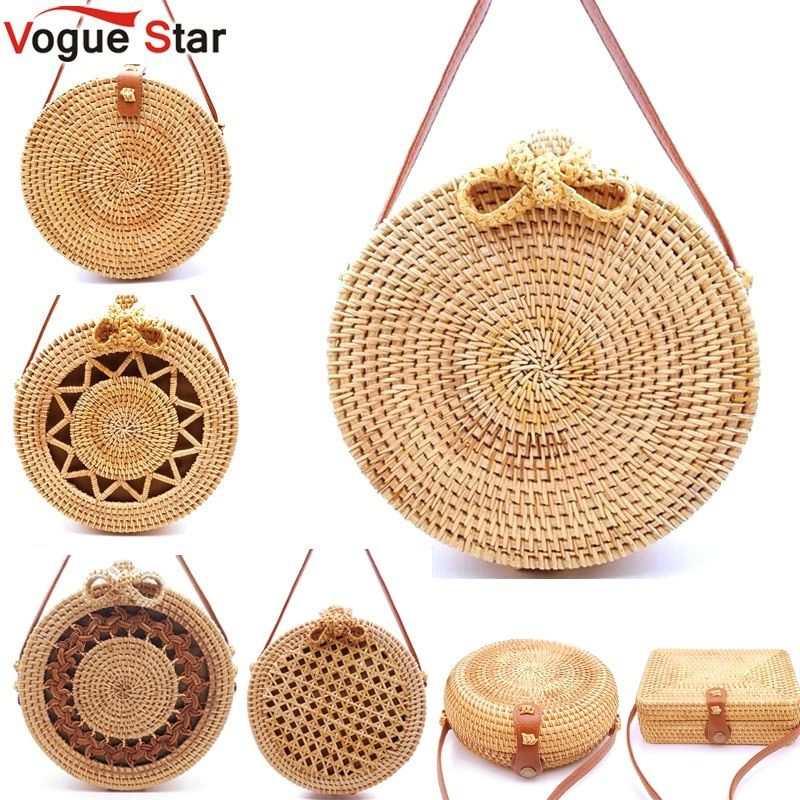 2019 Round Straw Bags Women Summer Rattan Bag Handmade Woven Beach Cross Body Bag Circle Bohemia Handbag Bali Lowest price L31