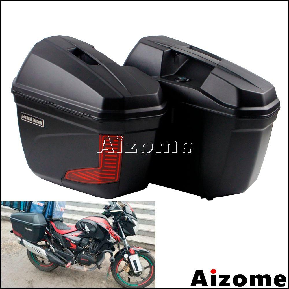 Universal Motorrad Schwarz 23 Liter Seite Pannier Für Honda Yamaha Yamaha Suzuki BMW Nach Gepäck Seite Fall Schwanz Box Satteltaschen