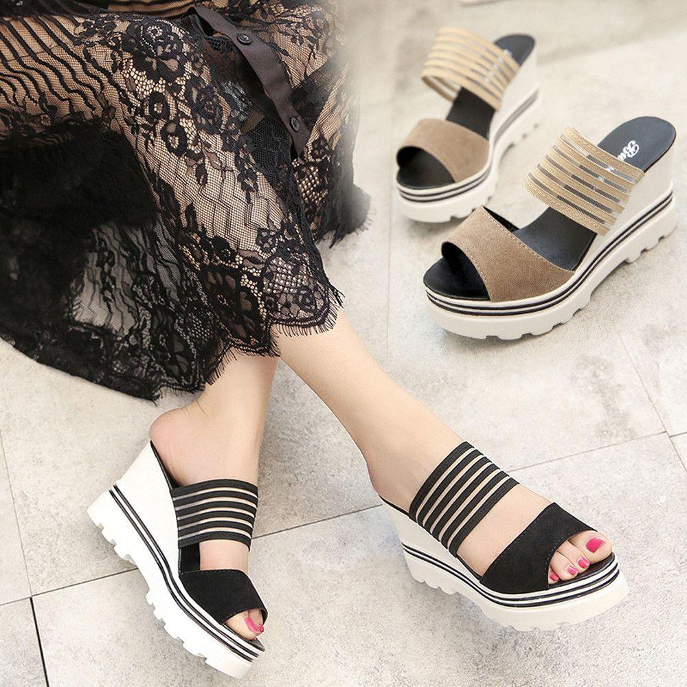 Chaussures femmes 2018 d'été à talons hauts Poissons Bouche Cales de Plate-Forme Sandales Frais style week-end shopping partie chaussures JL 03