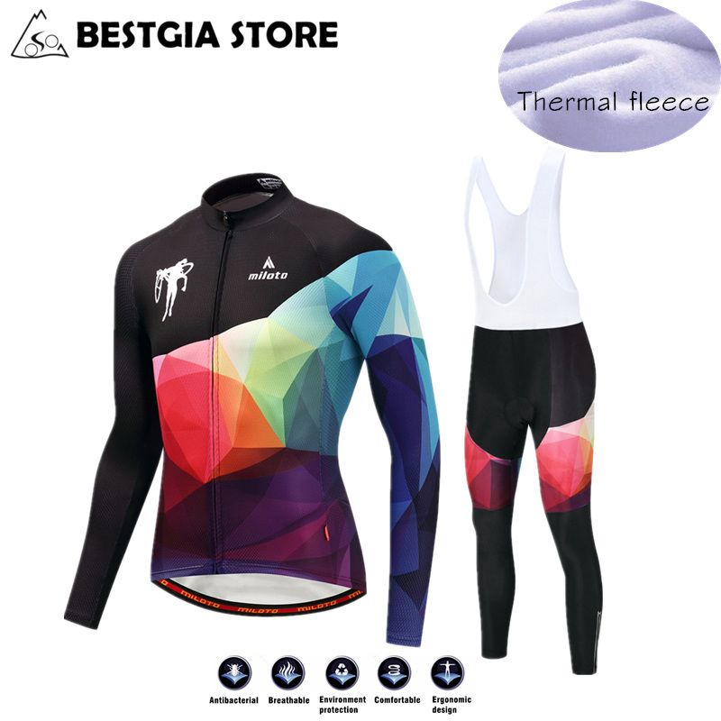 2017 Men Winter Thermal Fleece Cycling Jersey Sets MTB Race Cut Long Sleeve Warm Jersey Bicycle Bib Pants Set Bike Clothes S-4XL