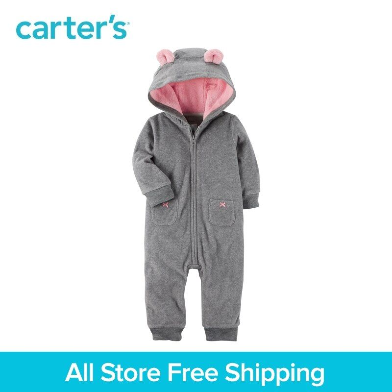 Carter's 1-Piece baby children kids clothing Girl Fall & Winter 3D ears Hooded Fleece Jumpsuit 118H672