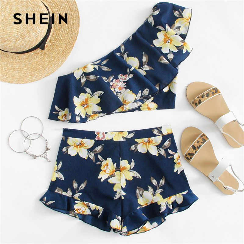 SHEIN Flower Print One Shoulder Crop Top And Shorts Set Women Sleeveless Ruffle Zipper 2 Pieces Sets 2018 Beach Boho Twopieces