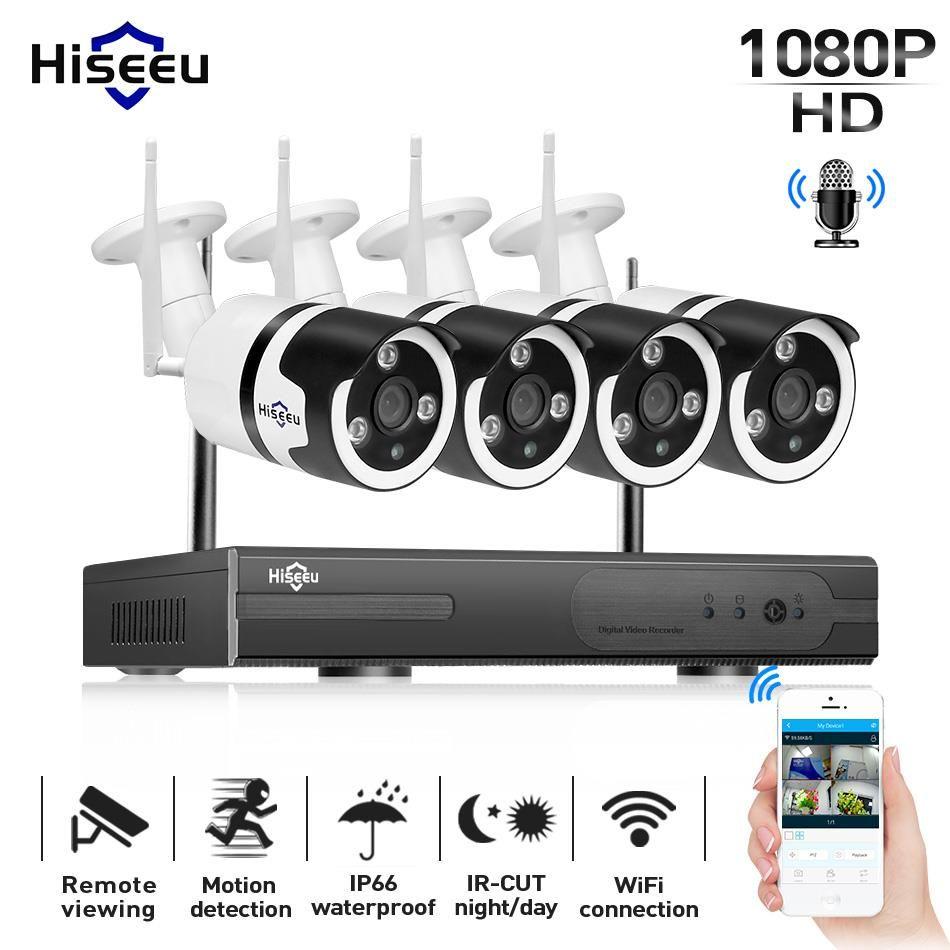Hiseeu 1080P Wireless CCTV camera System 4CH 2MP audio IP camera waterproof network Security System video Surveillance Kit wifi