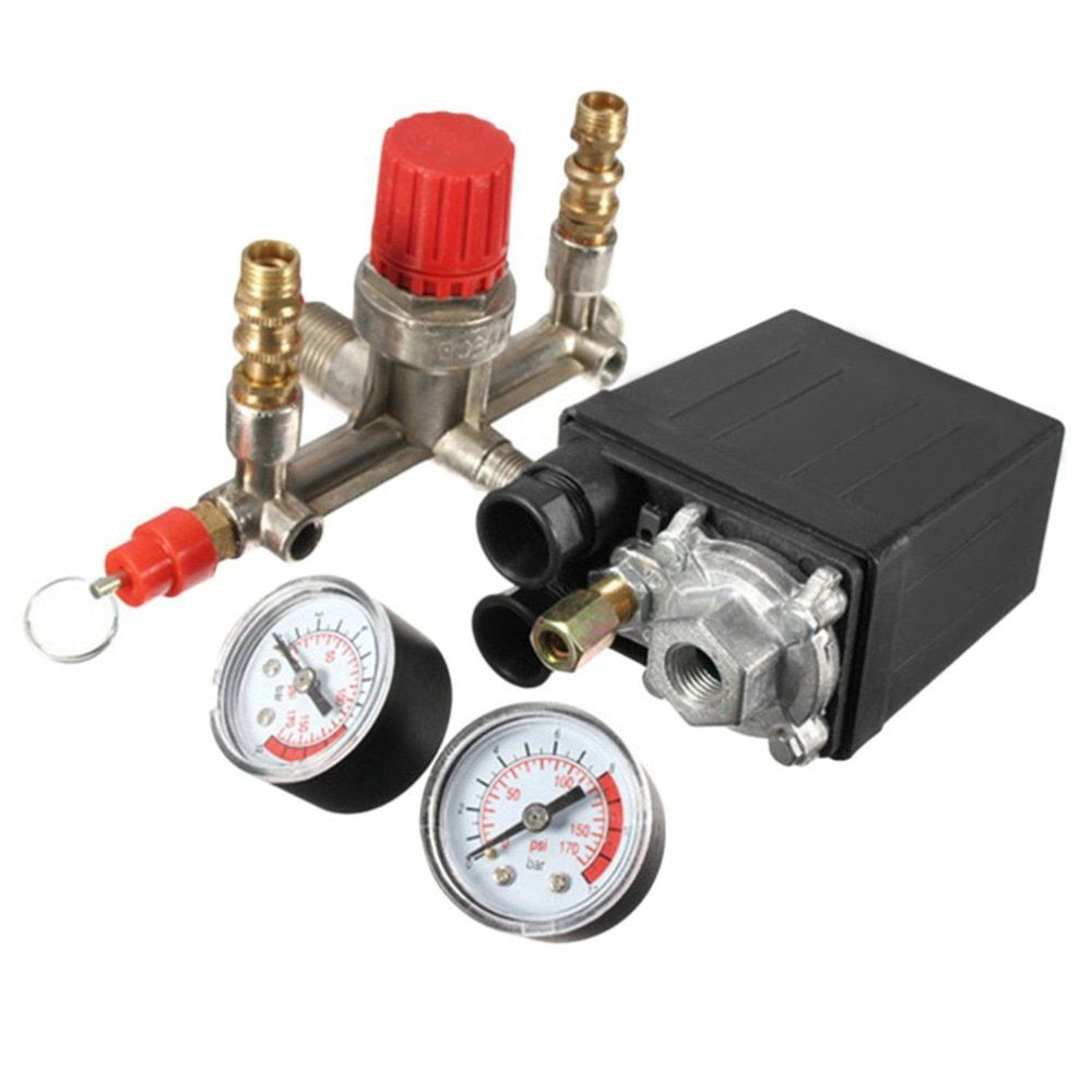 Adjustable Pressure Switch Air Compressor Switch Pressure Regulating with 2 Press Gauges Valve Control Set 230V 2017 New Arrival