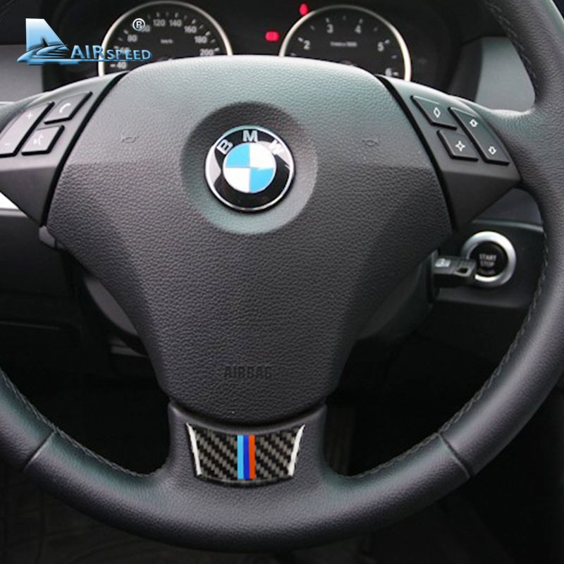 Airspeed Carbon Fiber Car Steering Wheel Stickers Emblem for BMW E60 E61 2004-2010 Decorations 5 Series Accessories Car Styling