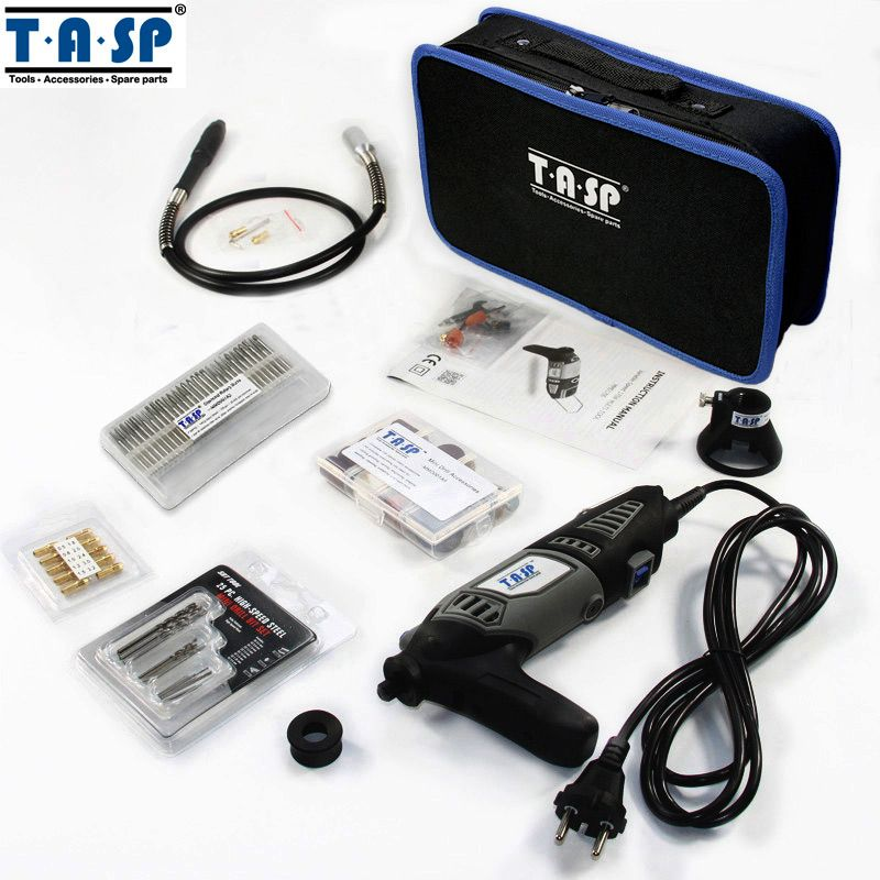 TASP 220V 170W Rotary Tool Set Electric Mini Drill Engraver Kit Mini Grinder Power Tools with Flexible Shaft and Accessories