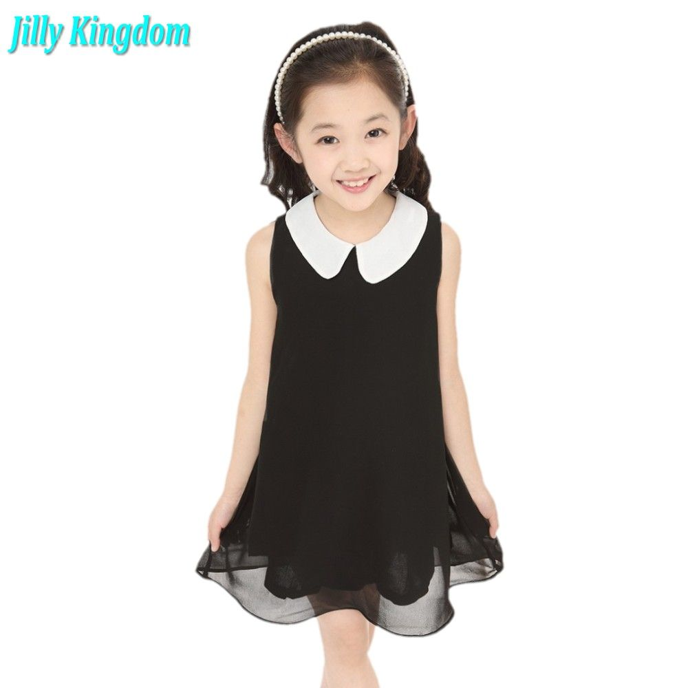 New 2018 Summer Girls Pleated Chiffon One-Piece Dress With Paillette Collar Children Colthes For Kids Baby 6colors