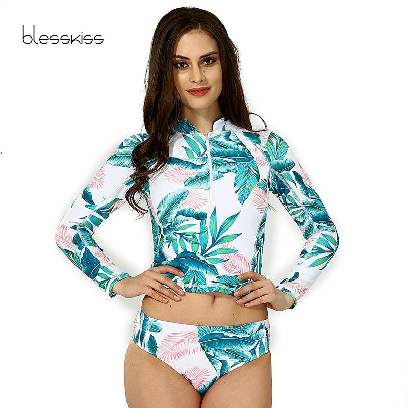 BLESSKISS Print Floral Long Sleeve Swimwear Women Bikini 2017 Crop Top Surfing Beachwear Plus Size Tankini Swimsuit Swim Suits