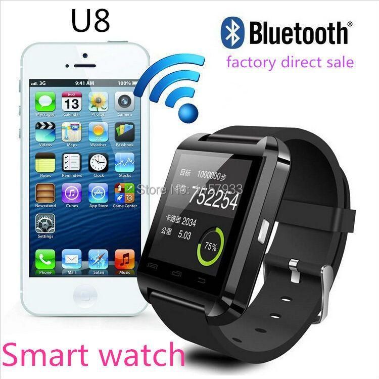Moins cher Smartwatch Bluetooth montre intelligente U8 montre-bracelet numérique sport montre pour Android Samsung téléphone portable dispositif électronique