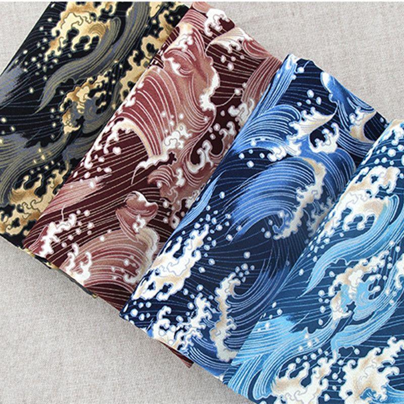 Japon Style bricolage coton lin tissu pour la décoration de la maison coussin couvre Ukiyoe océan vague imprime bleu couleur tissu tissu