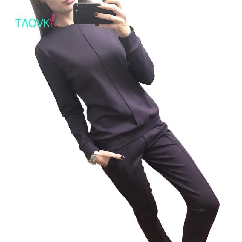 TAOVK new fashion Russia style Women's Autumn Tracksuit Women Hoodies 2-Piece Set t-shirts+Long Pants) Leisure Suits