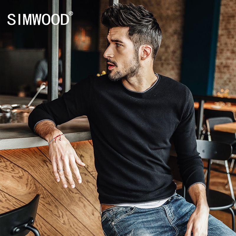 Simwood 2018 на весну и зиму Новый свитер Для мужчин Slim Fit трикотажный пуловер Для мужчин мода плюс Размеры Высококачественная брендовая одежда с...