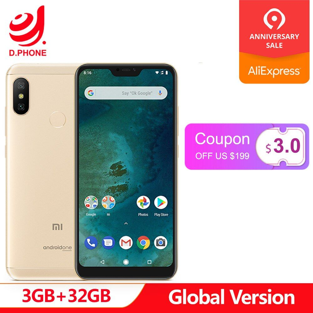 En Stock Version mondiale Xiao mi A2 Lite A 2 3 GB 32 GB Android One Octa Core 5.84