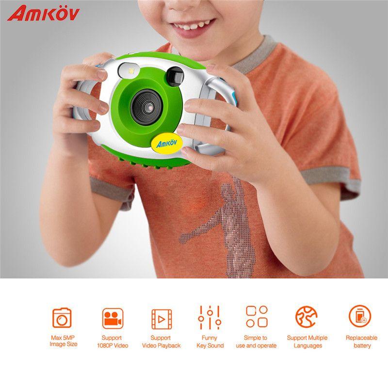 AMKOV 5MP HD Mini Kids Camera Portable Cute Kid Creative Neck Children Camera Photography Support Video Recording 32GB SD Card