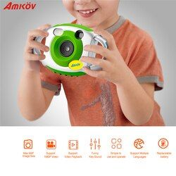 AMKOV 5MP HD Mini Kids Camera Portable Cute Kid Creative Neck Children Camera Photography Support Video Recording 32GB SD Card