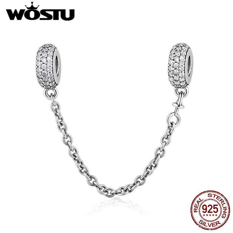 Real 925 Sterling Silver Pave Inspiration Safety Chain Charm With Clear CZ Fit Original WST Bracelet Authentic Jewelry Gift