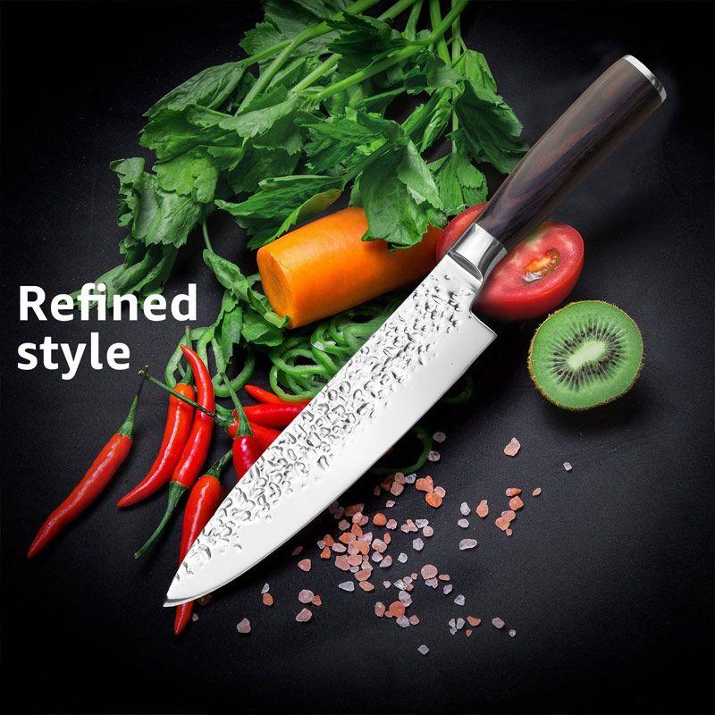 Ensemble de couteaux de cuisine couteaux de Chef japonais 7CR17 440C acier inoxydable à haute teneur en carbone Santoku utilitaire trancheuse
