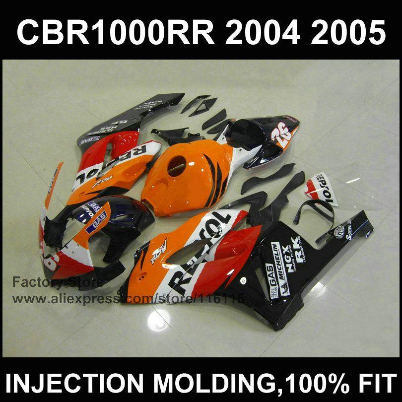 Black orange repsol ABS plastic fairing kit for   CBR 1000RR Injection mold fairings 2004 2005  cbr1000rr 04 05  bodyworks