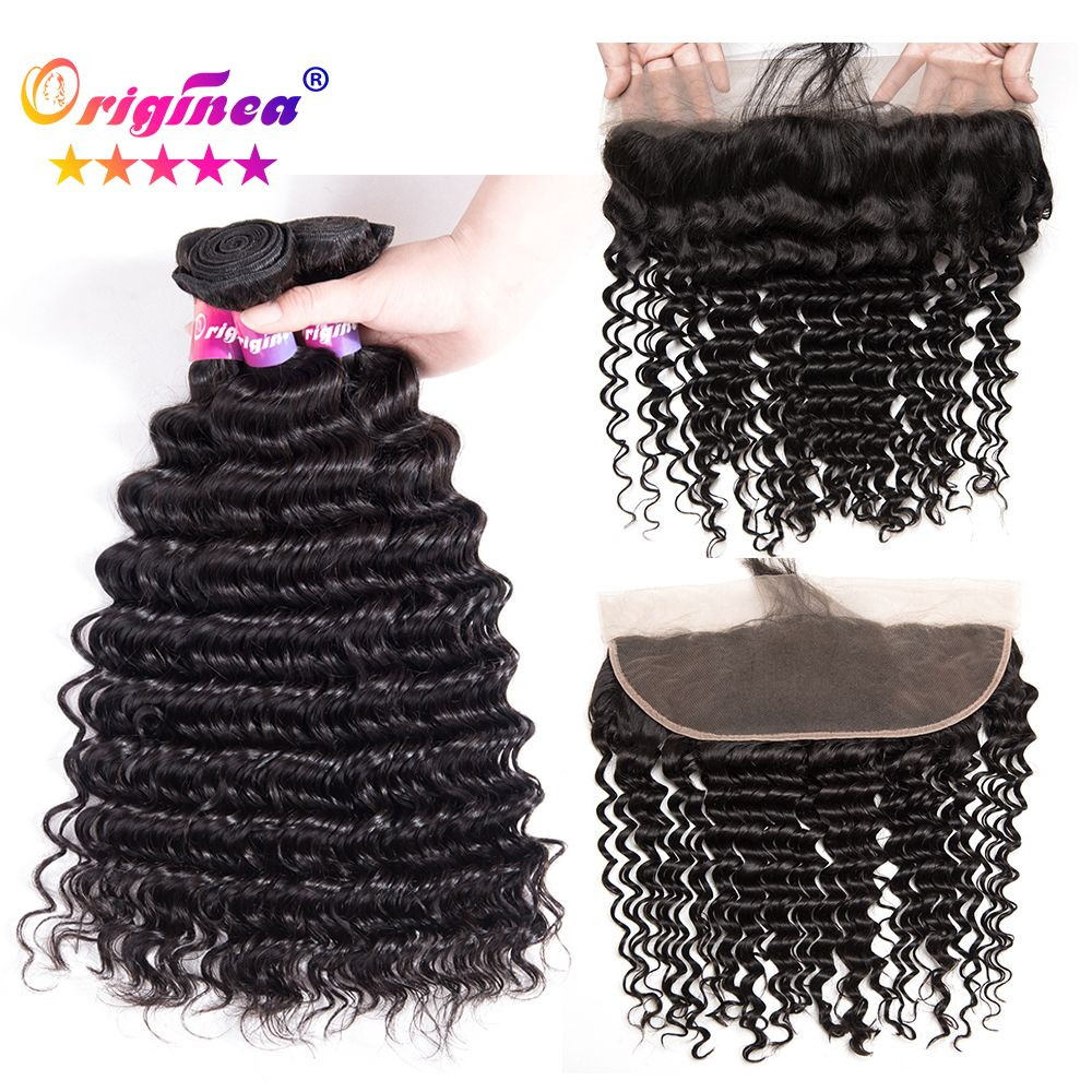Originea Deep Wave Wet And Wavy Brazilian Remy Human Hair 3 Bundles With 13X4 Lace Frontal Closure With Bundles Hair Extensions