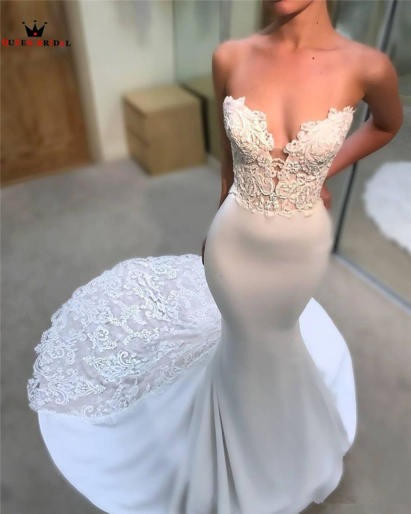 Mermaid Sweetheart Vintage Long Train Lace Beading Sexy Wedding Dresses Formal Elegant Bridal Wedding Gown Custom Made ST03