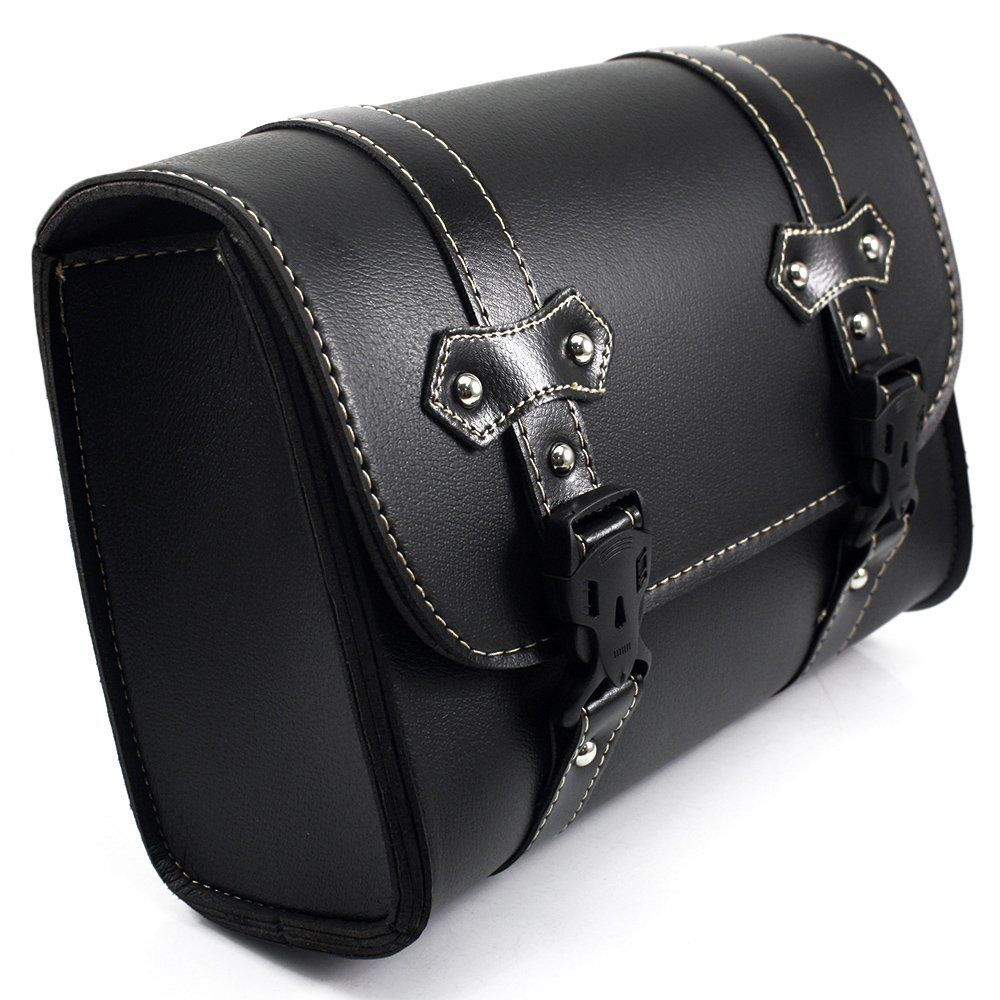 Black Motorcycle Saddle Bags PU Leather Motorbike Side Tool Pouch Tail Bag Luggage Borsello Moto Universal D20