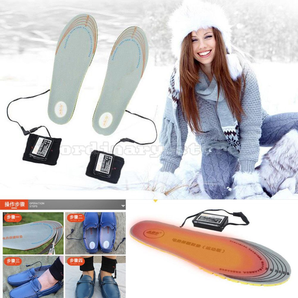 Cut-to-Fit 36-46 Size 3600mAh Rechargeable Battery Powered Electric Heated Winter Insole Shoes Pad Foot Warmer Outdoor Work Ski