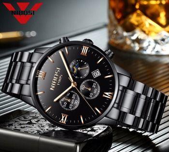 NIBOSI Watch Men Watches Luxury Famous Top Brand Men's Fashion Casual Dress Watch Military Army Quartz Wristwatch SUN MOON STAR