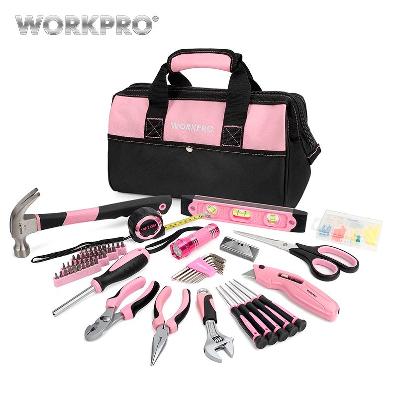 WORKPRO 75PC Household Tool Set Pink Home Tools Prescision Screwdriver Set Flashlight Tool Bag