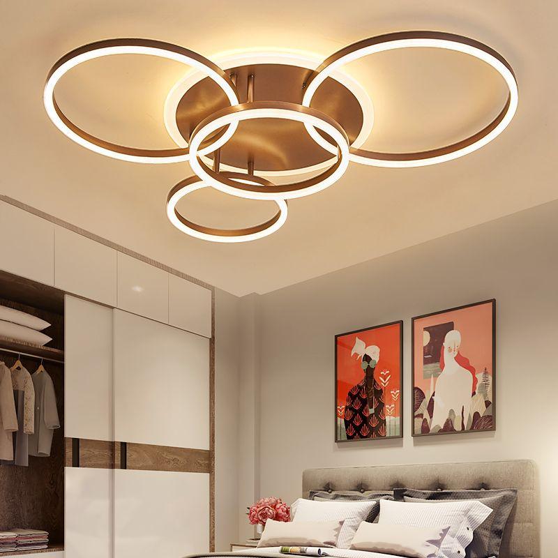 NEO Gleam 2/3/5/6 Kreis Ringe Moderne led-deckenleuchten Für wohnzimmer Schlafzimmer Studie raum Weiß/Braun Farbe decke Lampe