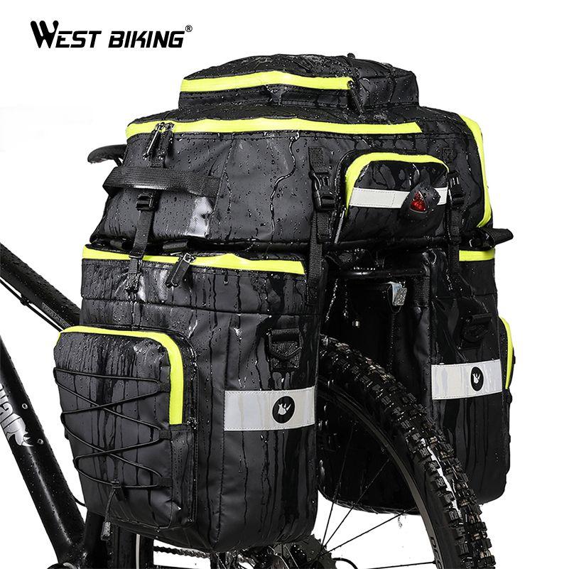 WEST RADFAHREN 75L Fahrrad Taschen 3 In1 Radfahren Pannier Gepäck Mountainbike Hinten Sitz Stamm Taschen Wasserdichte Doppel Side Bike tasche